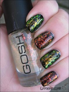 Inglot - 205 (top and 3th nail) and Gosh - Rainbow (2nd and 4th nail from the top), both over black