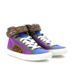 Pierre Hardy Contrasting Suede High-Top Sneakers