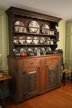 Displaying Your Pewter. I love this hutch, filled with pewter. Beautiful.