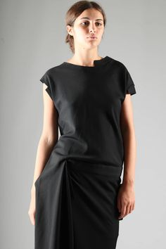 YOHJI YAMAMOTO - Long And Asymmetric Dress In Gabardine Wool :: Ivo Milan