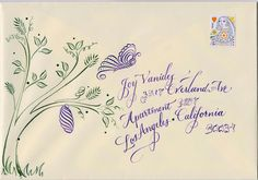 Mail Art.               Long Village Studio: Calligraphy on envelopes