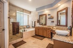 Master bathroom delight // Square vessels sinks, granite countertops, dual vanities, glass shower, soaker tub