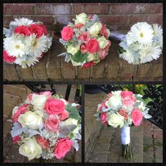 Bridesmaid, maid of honor, and brides bouquet in shades of coral, cream and white.  www.myfloralimpressions.com