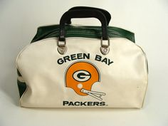 #vintage 70s Green Bay Packers Travel Duffle Gym Bag vinyl tote purse by wardrobetheglobe, $70.00