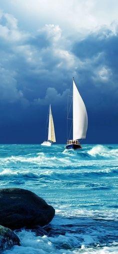 Sailing blue on blue