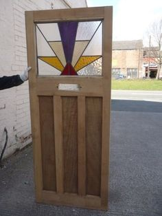 1930S ORIGINAL RECLAIMED EDWARDAIN EXTERIOR FRONT DOOR WITH STAINED GLASS PANEL | eBay