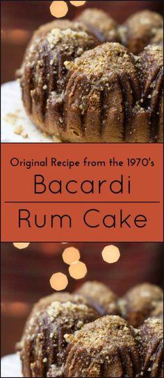 Original recipe for Bacardi Rum Cake from the - Kuchen - Bundt Cake Mini Cakes, Cupcake Cakes, Bundt Cakes, The Cake Mix Doctor, Just Desserts, Dessert Recipes, Rum Recipes, Punch Recipes, Bread Recipes