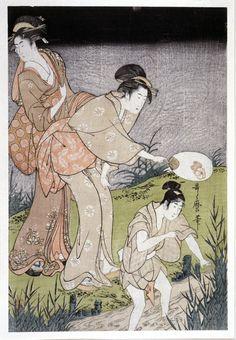 Kitagawa Utamaro: triptych print - British Museum
