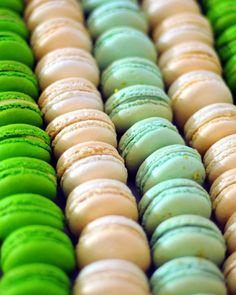 Rows of colorful French macarons