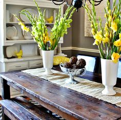 yellow and gray dining room makeover from @Deb Keller Farm