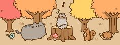 Pusheen is a tubby tabby cat who brings smiles and laughter to people all around the world! Pusheen Gif, Pusheen Love, Cute Potato, Thanksgiving Wallpaper, Fall Wallpaper, Cat Health, Cute Images, Cute Characters, Pictures To Draw