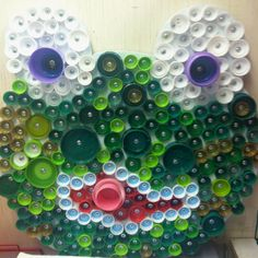 Frog made with plastic bottle caps