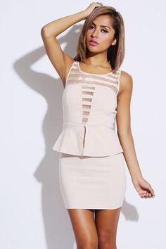 207fc6fcc403  1015store.com  fashion  style beige sheer stripe deep v peplum pencil  party. ClubwearCocktailkjolerSpar Penge