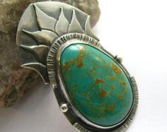 OOAK Turquoise Necklace, Sterling Silver Pendant Necklace, Metalsmith Art Jewelry One Of A Kind Necklace, Exotic Patagonia Turquoise Jewelry