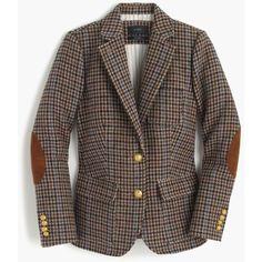 J.Crew Rhodes Blazer ($330) ❤ liked on Polyvore featuring outerwear, jackets, blazers, blazer, houndstooth jacket, corduroy blazer, short-sleeve blazers, slim blazer and elbow patch blazer