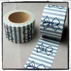 Big Ribbon bow blue stripes Washi Tape Full Roll 30mm WT225. $4.88, via Etsy.
