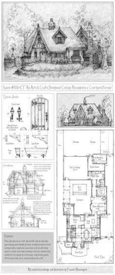 Nanny, build me this house, you only have a couple months before I am home. House 326 Full Plan with Portrait by Francois Beauregard - Cottage Life Today Cottage Plan, Cottage Homes, Cottage Style, Storybook Homes, Storybook Cottage, Fairytale Cottage, Vintage House Plans, House Floor Plans, House Plans With Courtyard