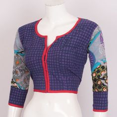 Buy online Hand Block Printed Cotton Blouse With Applique Embroidered Sleeve 10021513 - 40 Blouse Models, Blouse Online, Indian Designer Wear, Saree Blouse Designs, Cotton Blouses, Printed Cotton, Applique, Sim, Jasmine