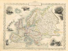 Europe - 1851 Antique Map by Tallis $225– Original, #Vintage, Historical #Antique #Maps Maps make great #gifts! www.mapsofantiquity.com