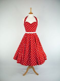 Made To Measure Red And White Polka Dot Full by GinAndSinEtsy, £115.00