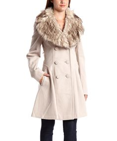 Another great find on #zulily! Fleet Street Sand Faux Fur Wool-Blend Peacoat by Fleet Street #zulilyfinds