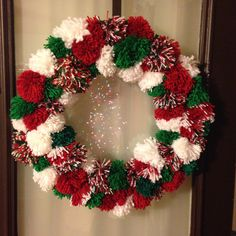Christmas pompom wreath. Simply Memorable 2015 Christmas Crafts To Sell Bazaars, Christmas Pom Pom Crafts, Christmas Crafts To Sell Handmade Gifts, Handmade Christmas Decorations, Homemade Christmas Gifts, Christmas Projects, Christmas Fun, Holiday Crafts, Christmas Ornaments