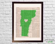 Vermont Dictionary Print  Burlington Art  Print on by DictionArt