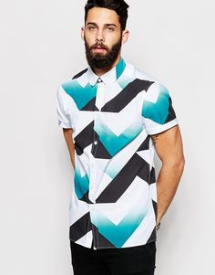 ASOS Shirt In Retro Print with Short Sleeves