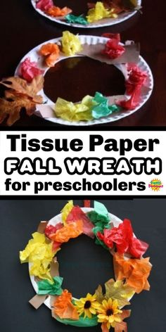 Toddlers and Preschoolers can make this pretty fall wreath to hang on a door or window this fall. Crumpling tissue paper is great for strengthening fine motor skills and hand muscles. #HappyHooligans #KidsCrafts #CraftsForKids #DaycareCrafts #KidsArt #ArtForKids #PreschoolCrafts #Toddler #Preschool #HomeDaycare #TissuePaper #PaperPlate #Craft #Fall #Autumn #Leaf #FineMotor #EasyCraft #Kids #Crafts