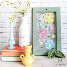 some fun, whimsical cottage style decor or Spring home decor with this upcy. - Hometalk: Spring Inspiration - Make some fun, whimsical cottage style decor or Spring home decor with this upcy. Window Screen Frame, Old Window Frames, Spring Home Decor, Spring Crafts, Diy Home Decor, Cottage Style Decor, Thrift Store Crafts, Happy Flowers, Flower Decorations