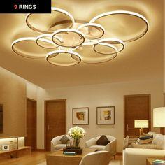Modern LED Halo Rings Semi Flush Mount Ceiling Light - Lights Lamps Lighting Decor Furniture Home House #bedroom #ceiling #lights #home #decor #designs #ideas