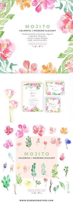 Floral Watercolor Wedding Clipart, Hand Painted Clipart, Digital Watercolor Clipart for Logo Business Card, Tropical Clipart for Branding  Hi! Welcome to Essem Creatives!  Mojito is a set of hand painted Watercolor Florals Clipart set. This set includes hand painted watercolour graphics painted in a loose & modern style. These lflowers, branches, leaves & twigs are perfect for designing custom logos, branding, stationery, business card, to prettify your website, social media graphics,...