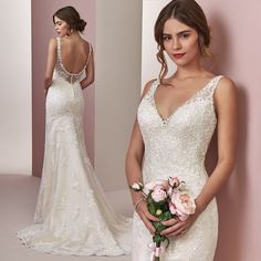 This gown is ultra flattering in the waistline and back <3 Elora by #RebeccaIngram. #Rebeccabride #chicweddingdress #budgetfriendly #classicweddings