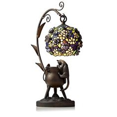 Tiffany Style Handcrafted Curious Cat Lamp
