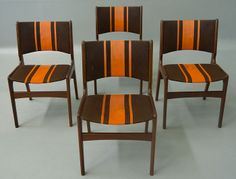 I love the orange racing stripes. They provide a decidedly masculine touch. Four Danish Modern Teak Dining Chairs Danish Modern Furniture, Teak Furniture, Decorating On A Budget, Interior Decorating, Striped Chair, Teak Dining Chairs, Art Deco, Family Apartment, Home Decor Inspiration