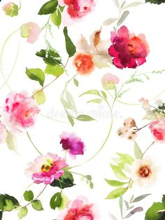 Download Seamless Summer Pattern With Watercolor Flowers Stock Illustration - Illustration of floral, design: 105244514