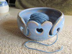 Blue Yarn Bowl Handmade Ceramic Stoneware Heart Design Pottery