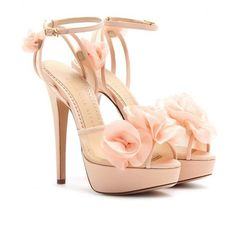Charlotte Olympia Fleur Platform Sandals with Organza Floral Embellishment in Pink (lead) Rosa High Heels, Pink High Heels, Ankle Strap High Heels, Ankle Wrap Sandals, Platform High Heels, Sandals Platform, Nude Heels, Strap Sandals, Dressy Sandals