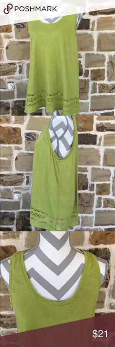 Loft tank top Gorgeous green tank.  Loose fit with a lace detail at bottom.  Minimal wear, great condition!  Pit to pit approx 21 and length approx 27 💐 LOFT Tops Tank Tops