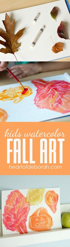 EASY Kids Watercolor White Crayon Resist Fall Art for Kids - a great school activity!