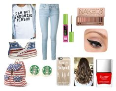 """American School"" by bubblybrownie ❤ liked on Polyvore featuring Casetify, Frame Denim, Converse, Candie's, Butter London, Urban Decay, Maybelline and LORAC"