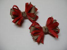 Little 3 inch Petite Piggy Tail Red Khaki You Pick by HareBizBows