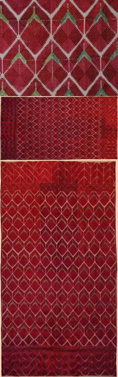 Antique Indian Textile. Eastern Panjab four panels Shawl. Silk Embroidery on a Cotton plain weave.The two pictures at top are detail area of shawl.   1800 - 1900 A.D
