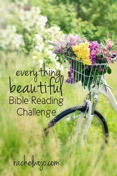 "This month's Bible reading challenge is to discover and focus on beauty in God's Word and in our lives. During the Pure Joy Bible reading challenge, I made note on how much getting outdoors in God's creation reminds me of joy. Whether indoors or out, let's find beauty ""in its time"" right where we are. You ready to join me for the Everything Beautiful Bible reading challenge?"