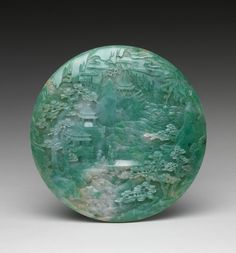 Table Screen w/ Landscape Scene  --  18th-19th Centuries  --  China, Qing Dynasty  --  Jade
