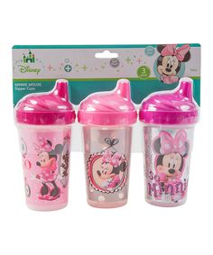 This Pink Minnie Mouse Sippy Cup - Set of Three by Disney Junior is perfect! #zulilyfinds