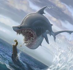 I love how with art, some things don't have to make complete sense, but just work.  Like the teeth this shark has for instance.  Love it.