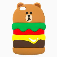 Line Friends Brown Burger Silicone for iPhone SE/5/5s Apple Case Skin Cover #NaverLineFriends