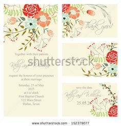 Wedding invitation, thank you card, save the date cards. Wedding set. RSVP card by Lyubov Lomonos, via ShutterStock