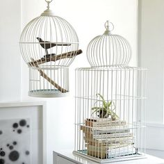 Flight of fancy. Inspired by antique Victorian birdcages, these powder-coated iron aviaries look lovely when you fill them with ferns, books or jewelry.    • Wire with a powder-coated finish in White.